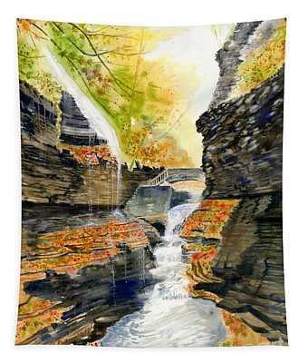 Autumn At Rainbow Falls  Tapestry