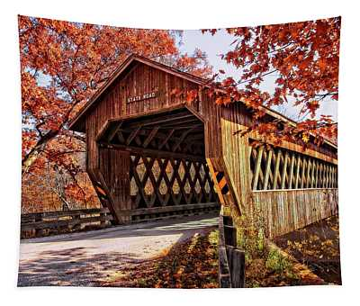 Autumn At State Road Covered Bridge Tapestry