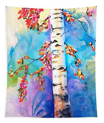 Autumn Birch Tree Watercolor Tapestry
