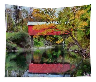 Autumn Colors Over Slaughterhouse. Tapestry