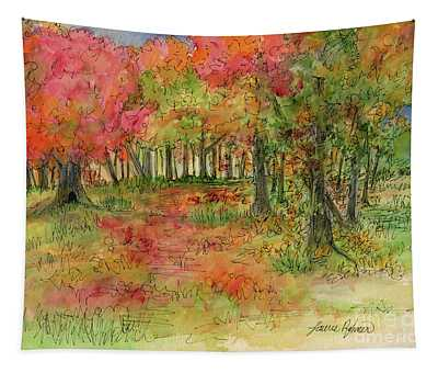 Autumn Forest Watercolor Illustration Tapestry