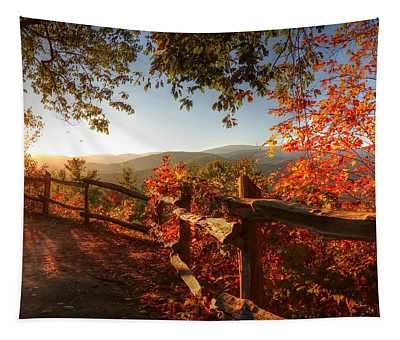 Autumn Landscape From Cataloochee In The Great Smoky Mountains National Park Tapestry