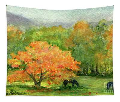 Autumn Maple With Horses Grazing Tapestry
