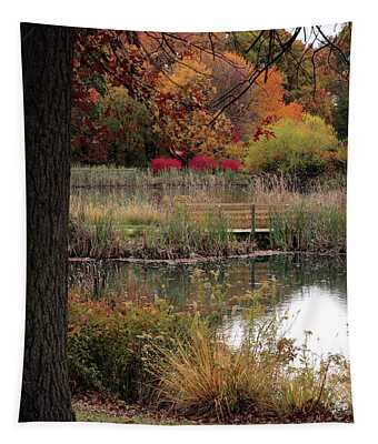 Autumn Pond In Maryland Tapestry