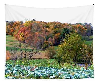 Autumn Rolling Hillside Farm Cabbage Harvest Tapestry