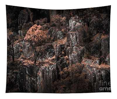 Autumn Trees Growing On Mountain Rocks Tapestry