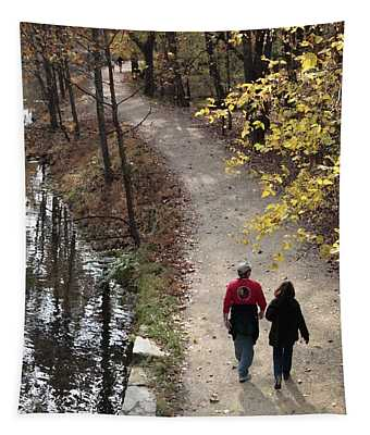 Autumn Walk On The C And O Canal Towpath With Oil Painting Effect Tapestry