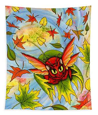 Autumn Winds Fairy Cat Tapestry