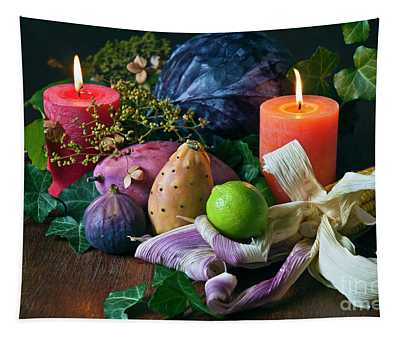 Autumnal Still Life With Candles Tapestry