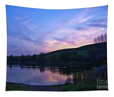 Autumnal Sunset At The Bathing Lake Arkenberge Tapestry