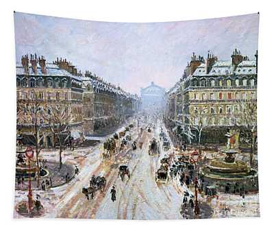 Avenue De L'opera - Effect Of Snow Tapestry