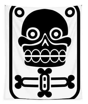 Aztec Stamp With Skull Tapestry