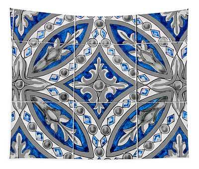 Azulejo - Blue Floral Decoration  Tapestry