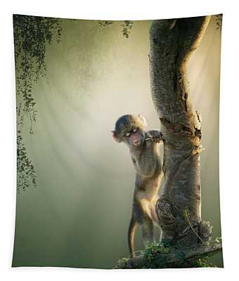 Baby Baboon In Tree Tapestry