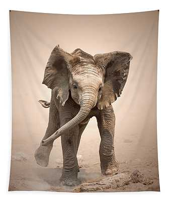 Baby Elephant Mock Charging Tapestry