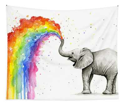 Baby Elephant Spraying Rainbow Tapestry