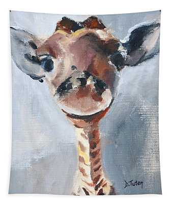 Baby Giraffe Safari Animal Painting Tapestry