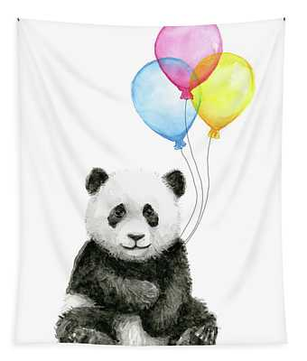 Baby Panda Watercolor With Balloons Tapestry