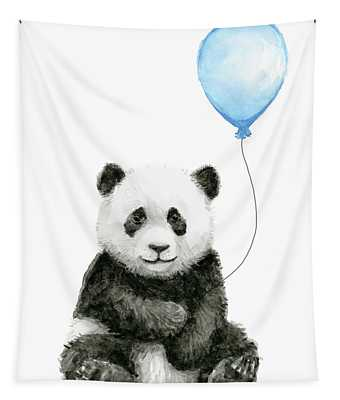 Baby Panda With Blue Balloon Watercolor Tapestry