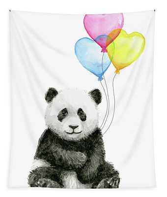 Baby Panda With Heart-shaped Balloons Tapestry