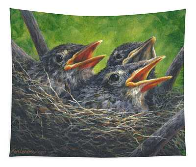 Baby Robins Tapestry