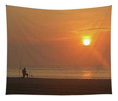 Baiting The Hook At Sunrise Tapestry
