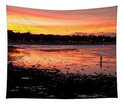 Bali Fisherman Sunset Tapestry