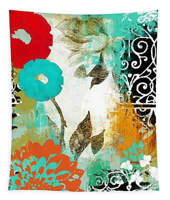 Bali I Abstract Collage Painting Tapestry
