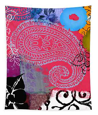 Bali IIi Abstract Collage Painting Tapestry
