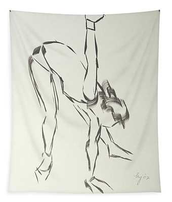 Ballet Dancer Bending And Stretching Tapestry
