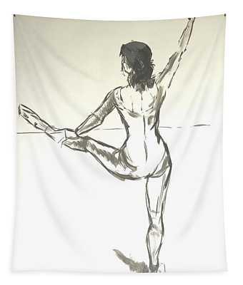 Ballet Dancer With Left Leg On Bar Tapestry