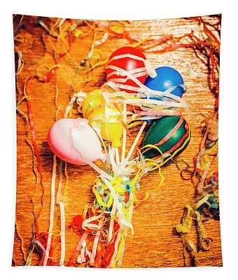 Balloons Entangled With Colorful Streamers Tapestry