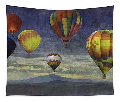 Balloons Over Sister Mountains Tapestry