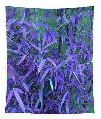 Bamboo Leaves In Indigo Blue Tapestry