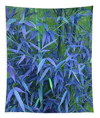 Bamboo Leaves In Twilight Blue Tapestry