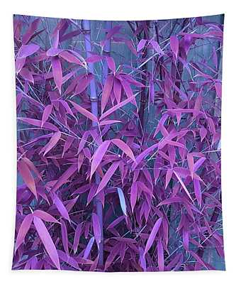 Bamboo Leaves In Twilight Pink Tapestry