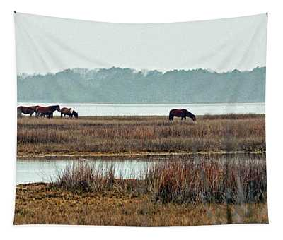 Band Of Wild Horses Along Sinepuxent Bay Tapestry