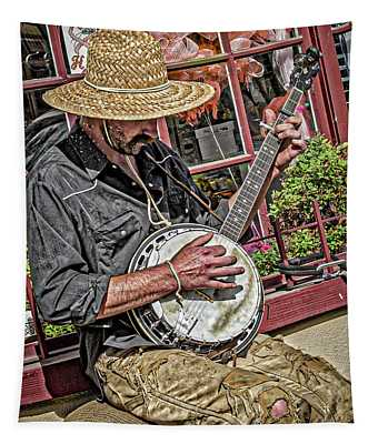 Banjo Man Orange Tapestry