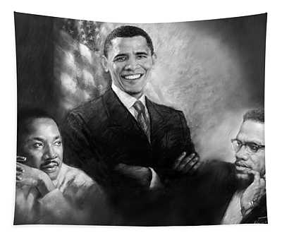 Barack Obama Martin Luther King Jr And Malcolm X Tapestry