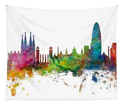 Barcelona Spain Skyline Panoramic Tapestry