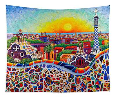 Barcelona Sunrise Colors From Park Guell Modern Impressionism Knife Oil Painting Ana Maria Edulescu Tapestry