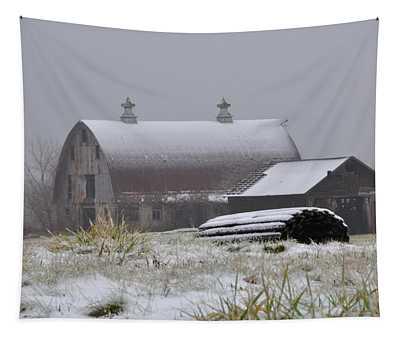 Barn In Winter Tapestry