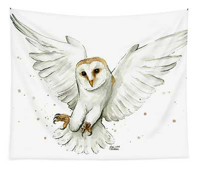 Barn Owl Flying Watercolor Tapestry