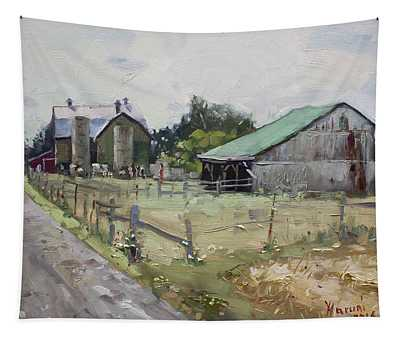 Barns And Old Shack In Norval Tapestry