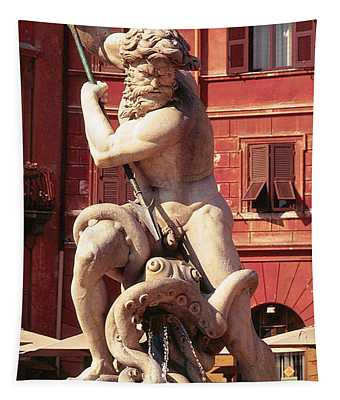 Baroque Sculpture Of Neptune Fountain In Piazza Navone, Rome, Italy Tapestry