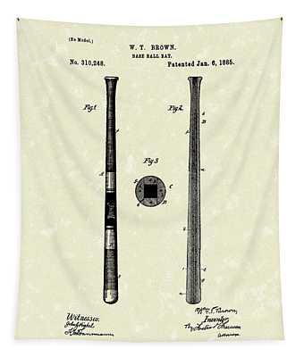 Baseball Bat 1885 Patent Art Tapestry