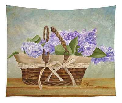 Basket Of Lilacs Tapestry