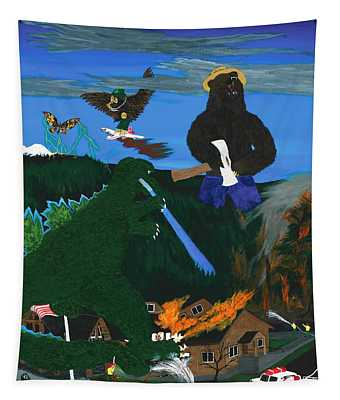 Battle For Kaiju Mountain Tapestry