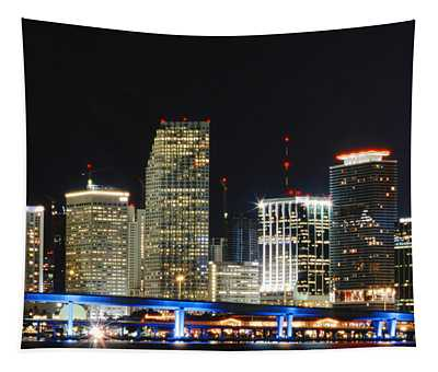 Bay Front Miami Skyline Tapestry