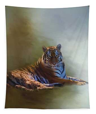 Be Calm In Your Heart - Tiger Art Tapestry
